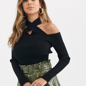NWT ASOS cold shoulder ribbed knit sweater